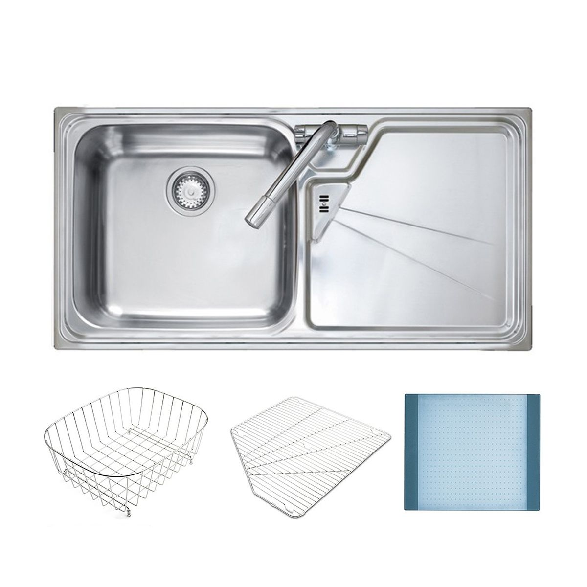 Lausanne 1 0 bowl sink w free accessories sinks - Stainless steel kitchen sink accessories ...