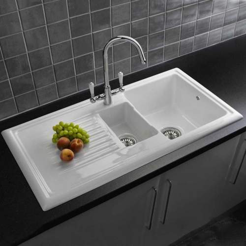 LUX RL301CW Ceramic 1.5 Bowl Kitchen Sink with FREE Reginox Tap