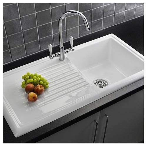 LUX RL304CW Ceramic 1.0 Bowl Kitchen Sink with FREE Reginox Tap