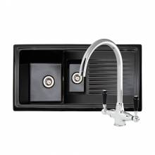 RL401CB Black Ceramic 1.5 Bowl Kitchen Sink With FREE Reginox BROOKLYN Tap