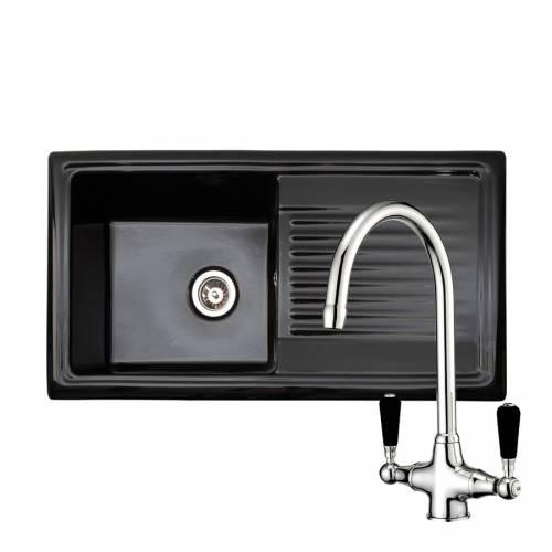 RL404CB Black Ceramic 1.0 Bowl Kitchen Sink With FREE Reginox BROOKLYN Tap