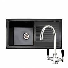 RL404CB Black Ceramic 1.0 Bowl Kitchen Sink With FREE Reginox BROOKLYN Tap