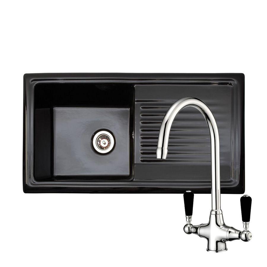 Reginox rl404 ceramic sink with brooklyn tap sinks taps rl404cb black ceramic 10 bowl kitchen sink with free reginox brooklyn tap workwithnaturefo