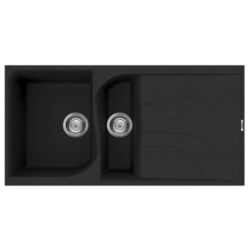 Ego 475 1.5 Bowl Inset Granite Kitchen Sink - Black