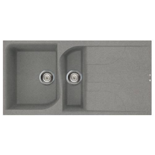 Ego 475 1.5 Bowl Inset Granite Kitchen Sink - Grey