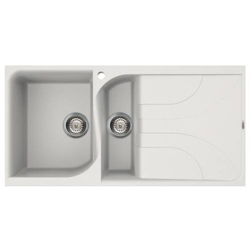 Ego 475 1.5 Bowl Inset Granite Kitchen Sink - White