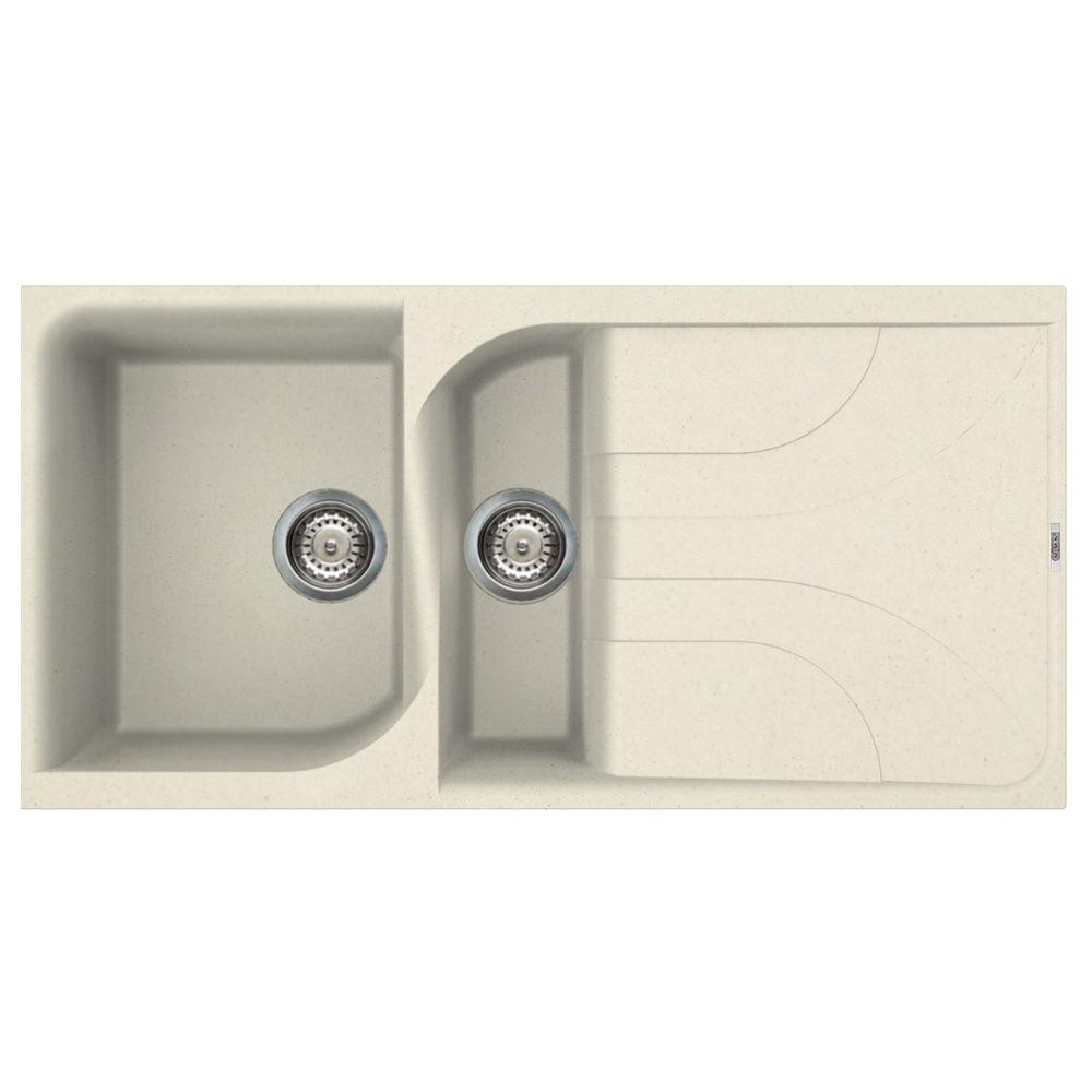 Reginox Ego 475 1.5 Bowl Cream Granite Sink - Sinks-Taps.com
