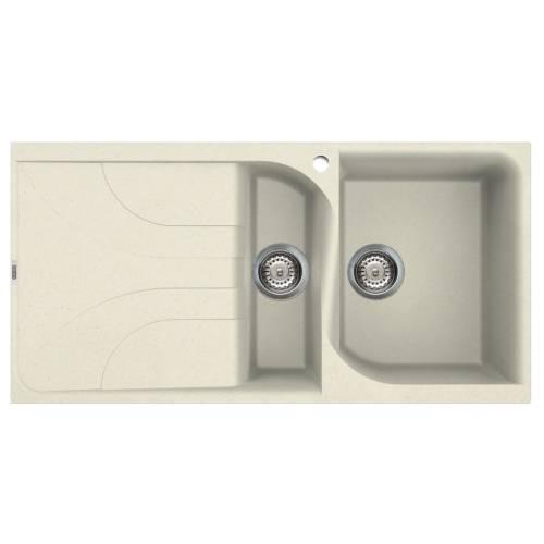 Ego 475 1.5 Bowl Inset Granite Kitchen Sink - Cream