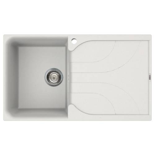 Ego 400 Compact Single Bowl Inset Granite Kitchen Sink - White