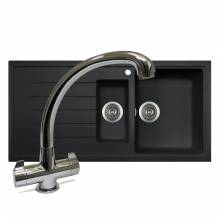 PIAZZA 1.5 Bowl Granite Kitchen Sink with FREE TAP