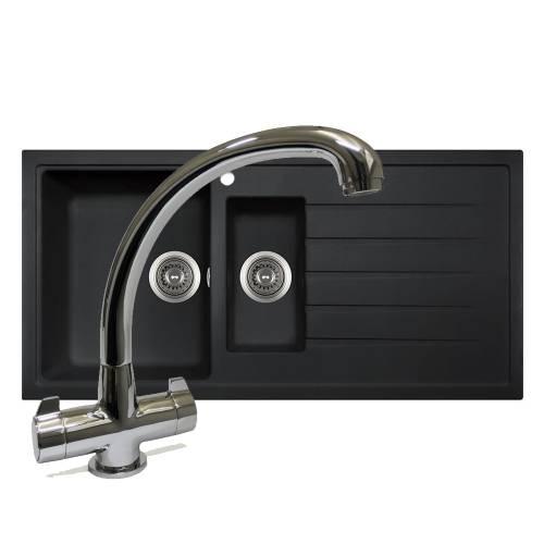 PIAZZA 1.5 Bowl Granite Kitchen Sink with FREE TAP