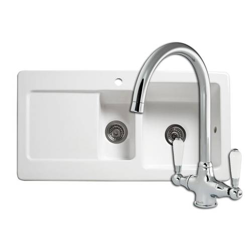RL501CW 1.5 Bowl Ceramic Kitchen Sink and Elbe Kitchen Tap