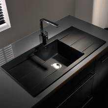 Abode Zero Double Drainer Black Granite Sink