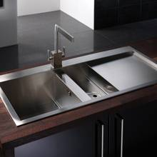 Abode Metrik 1.5 Bowl Inset Kitchen Sink with Drainer