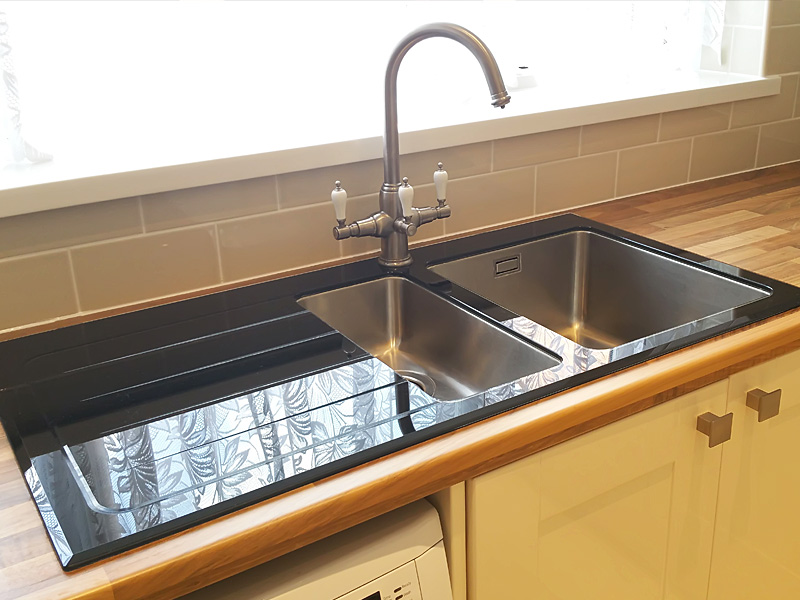 Gl Sink With Stainless Bowls Thanks To Our Customer Who Provided This Image Set Into A Wooden Worksurface Three Way Water Filter Kitchen Tap