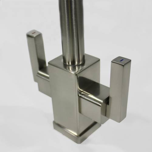 Bluci PANARO Brushed Twin Lever Kitchen Tap Detail