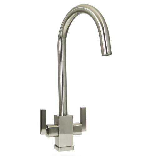 Bluci PANARO Twin Lever Kitchen Tap in Brushed Finish