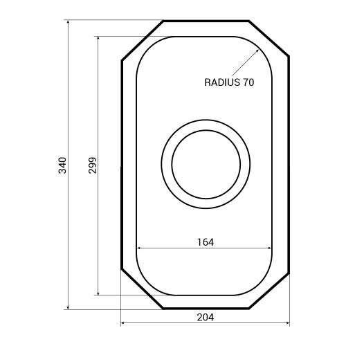 RUBUS 20U Undermount 0.5 Bowl Kitchen Sink Dimensions