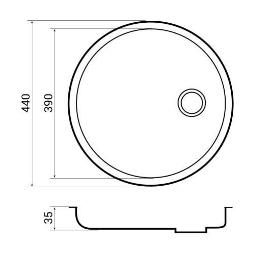 Bluci RUBUS 101D Circular Inset Drainer Dimensions