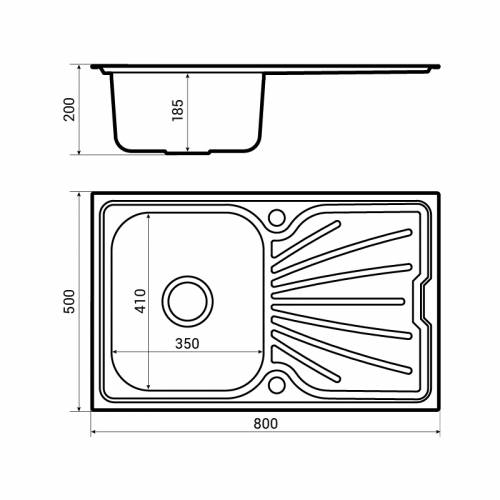 Bluci Rubus 80 Stainless Steel kitchen sink dimensions