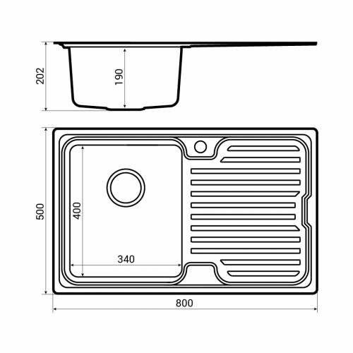 Bluci Orbit 3 inset compact kitchen sink dimensions