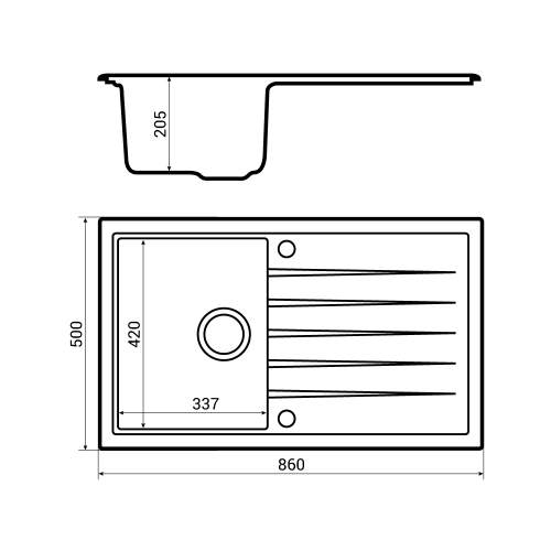 Bluci Piazza 1.0 Granite Kitchen Sink dimensions