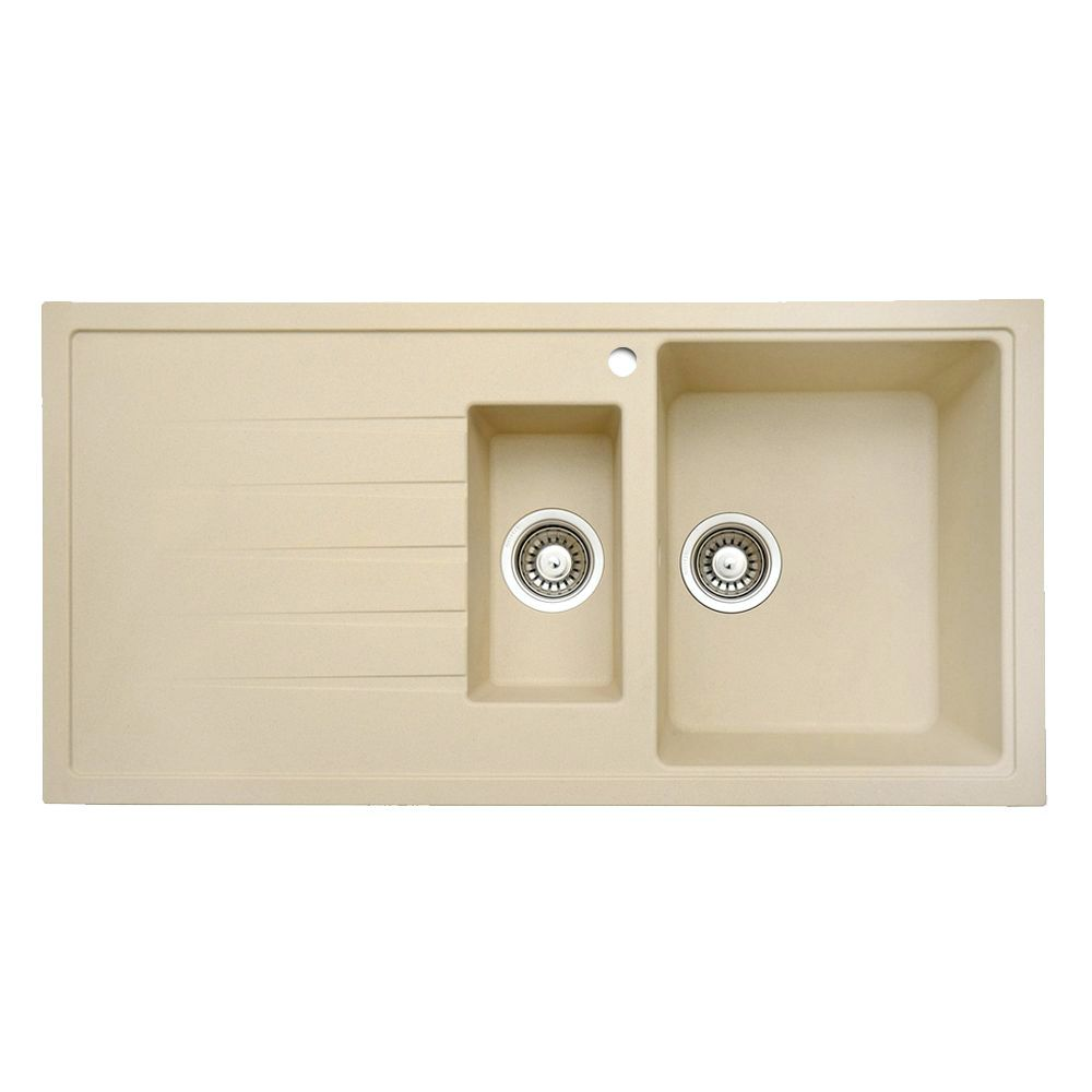 Cream Granite Sink : Home PIAZZA 1.5 Bowl Granite Kitchen Sink in Cream Granite ? Last ...