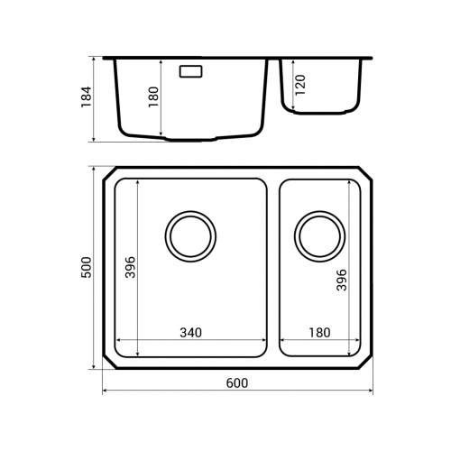 Bluci Orbit 01+ Stainless steel undermount kitchen sink dimensions