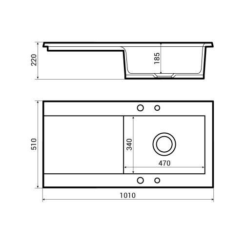 Bluci Vecchio-DS2 1.0 Bowl Ceramic Kitchen Sink Dimensions