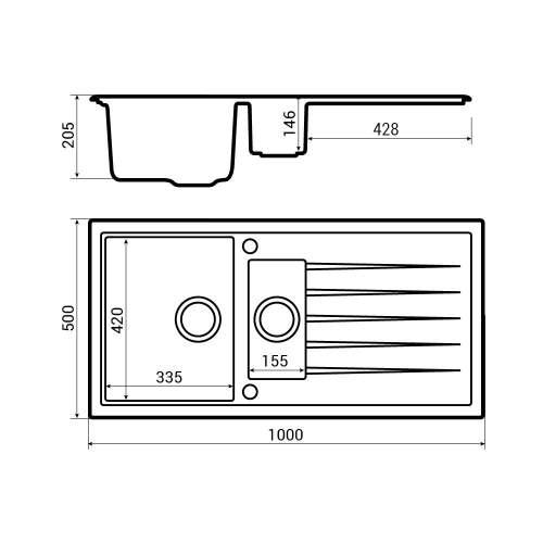 Bluci Piazza 1.5 Bowl Granite Sink Dimensions