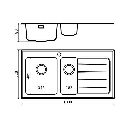 New KBV651 Bluci KubeVetro Glass Kitchen Sink Dimensions