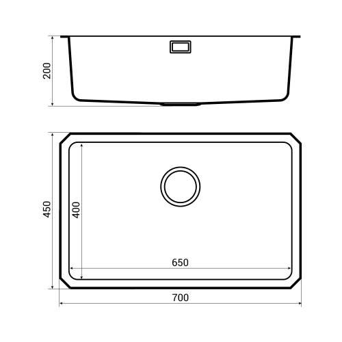 Bluci ORBIT 25 Large Bowl Undermount Kitchen Sink Dimensions