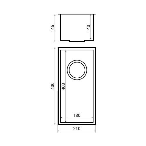 KUBE 18 Undermount 0.5 Bowl Kitchen Sink Dimensions