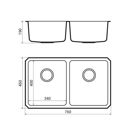 ORBIT 02 Double Bowl Undermount Kitchen Sink DImensions