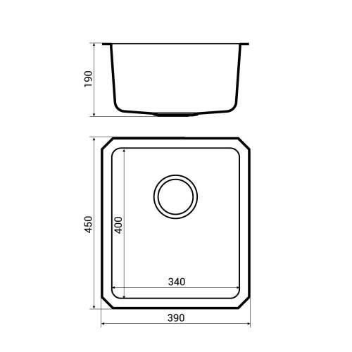 Bluci ORBIT 23 Medium Bowl Undermount Kitchen Sink Dimensions