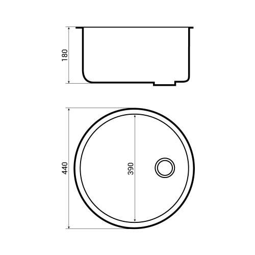 Bluci RUBUS 101B Circular Inset Kitchen Sink Dimensions