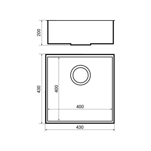 Bluci KUBE 40 Undermount 1.0 Bowl Kitchen Sink Dimensions