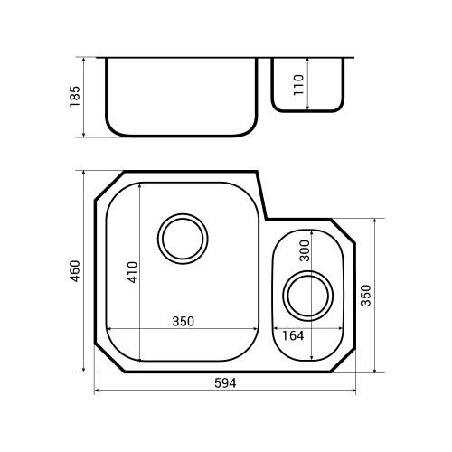 Bluci RUBUS 150UH Undermount Kitchen Sink Dimensions