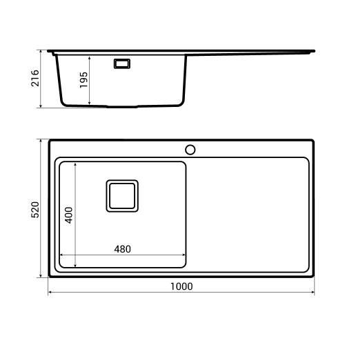 Bluci Orbit 60 1.0 Bowl Stainless Steel Kitchen Sink Dimensions