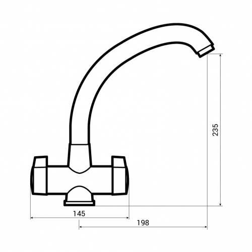 Bluci Milano Twin Lever Kitchen Mixer Tap Dimensions