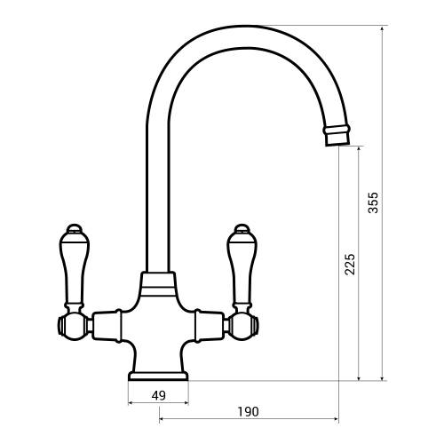 Bluci Elegante WRAS Approved Twin Lever Monobloc Kitchen Tap Dimensions