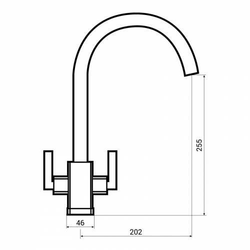 Bluci PANARO Twin Lever Kitchen Tap Dimensions