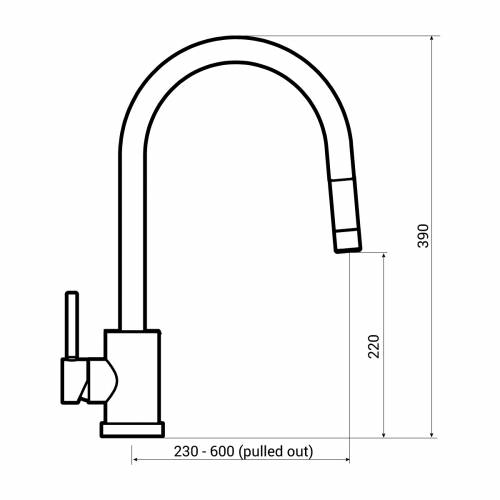 Bluci LAMBRO Pull Out Rinse Kitchen Tap Dimensions