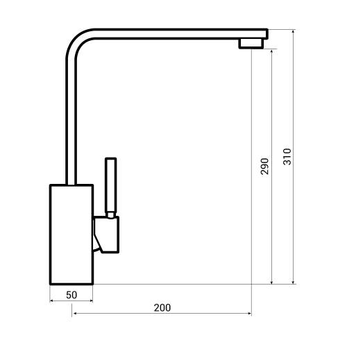 Bluci Lineare WRAS Approved Single Lever Kitchen Tap Dimensions