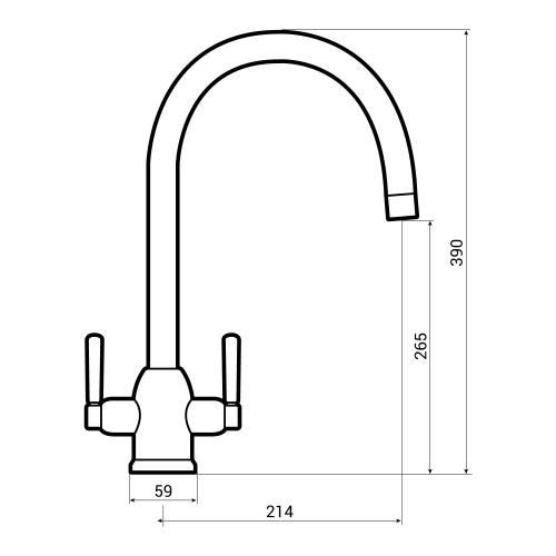 Bluci Vertigo Twin Lever Monobloc Kitchen Tap Dimensions