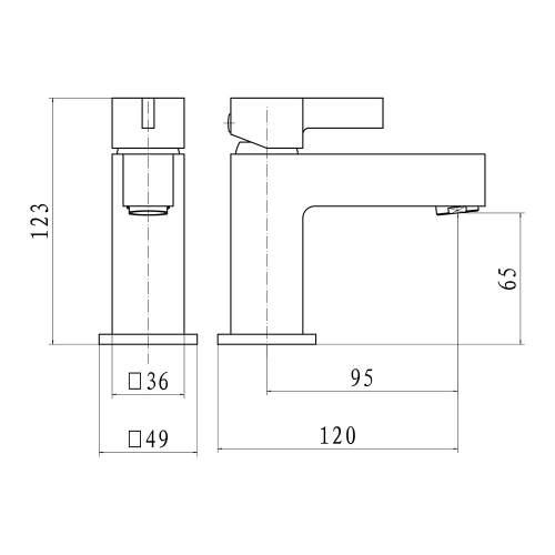 Aquabro Mode Monobloc Basin Mixer Dimensions