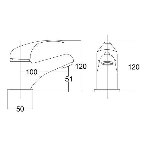 Aquabro RIO Monobloc Basin Bathroom Tap Dimensions