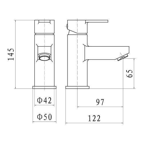 Aquabro Roma Monobloc Basin Mixer Tap Dimensions