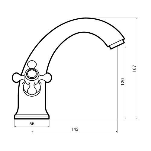 Aquabro Albert Monobloc Bathroom Basin Mixer Tap Dimensions