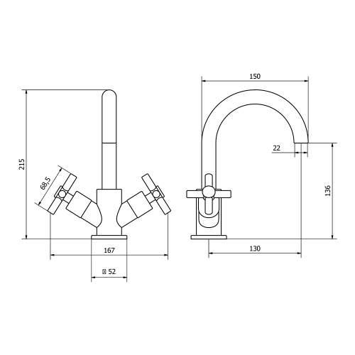 Aquabro DUNE Monobloc Bathroom Basin Mixer Tap Dimensions
